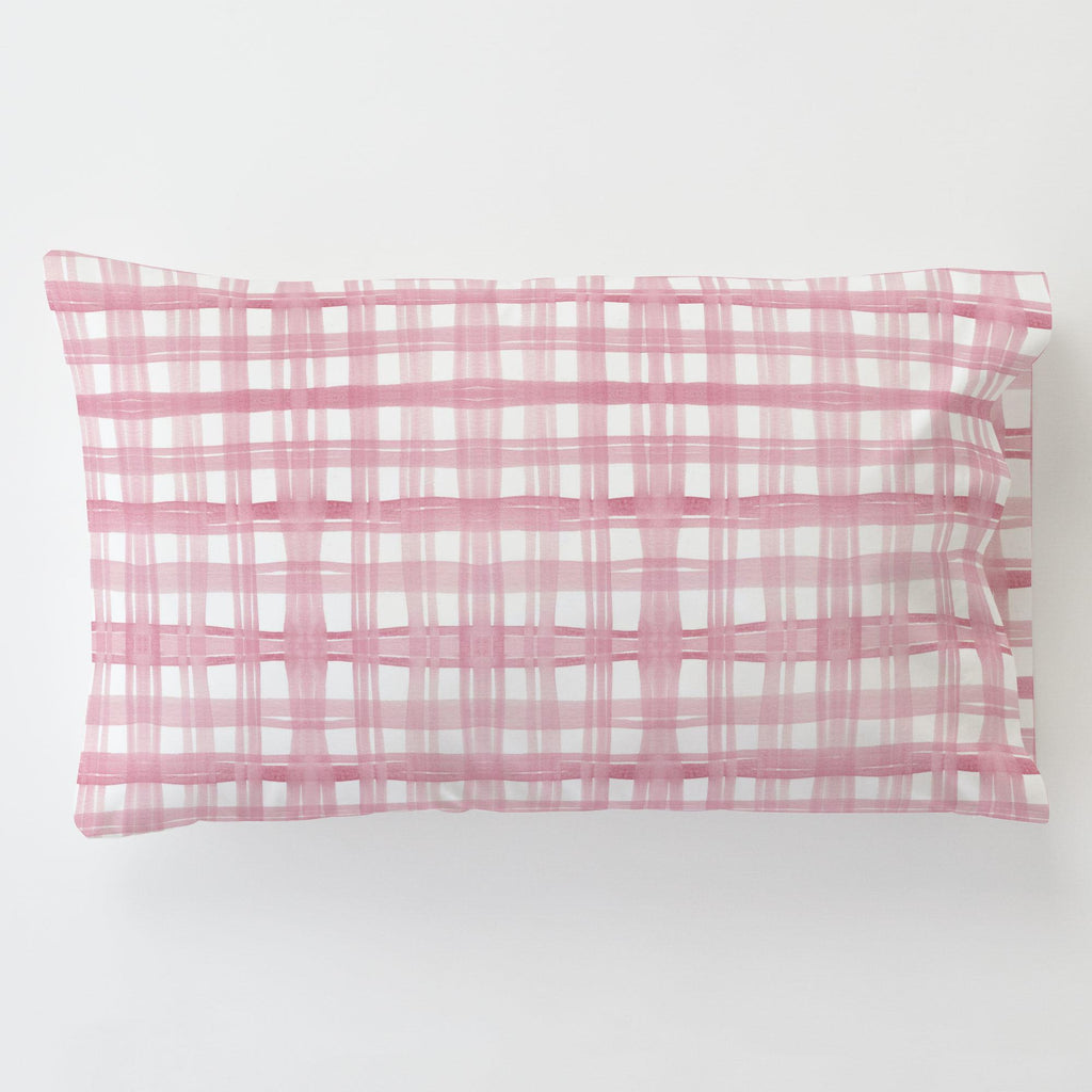 Product image for Pink Watercolor Plaid Toddler Pillow Case with Pillow Insert