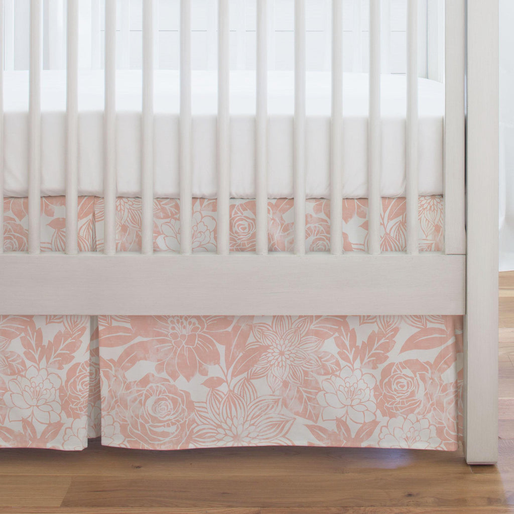 Product image for Peach Modern Blooms Crib Skirt Single-Pleat