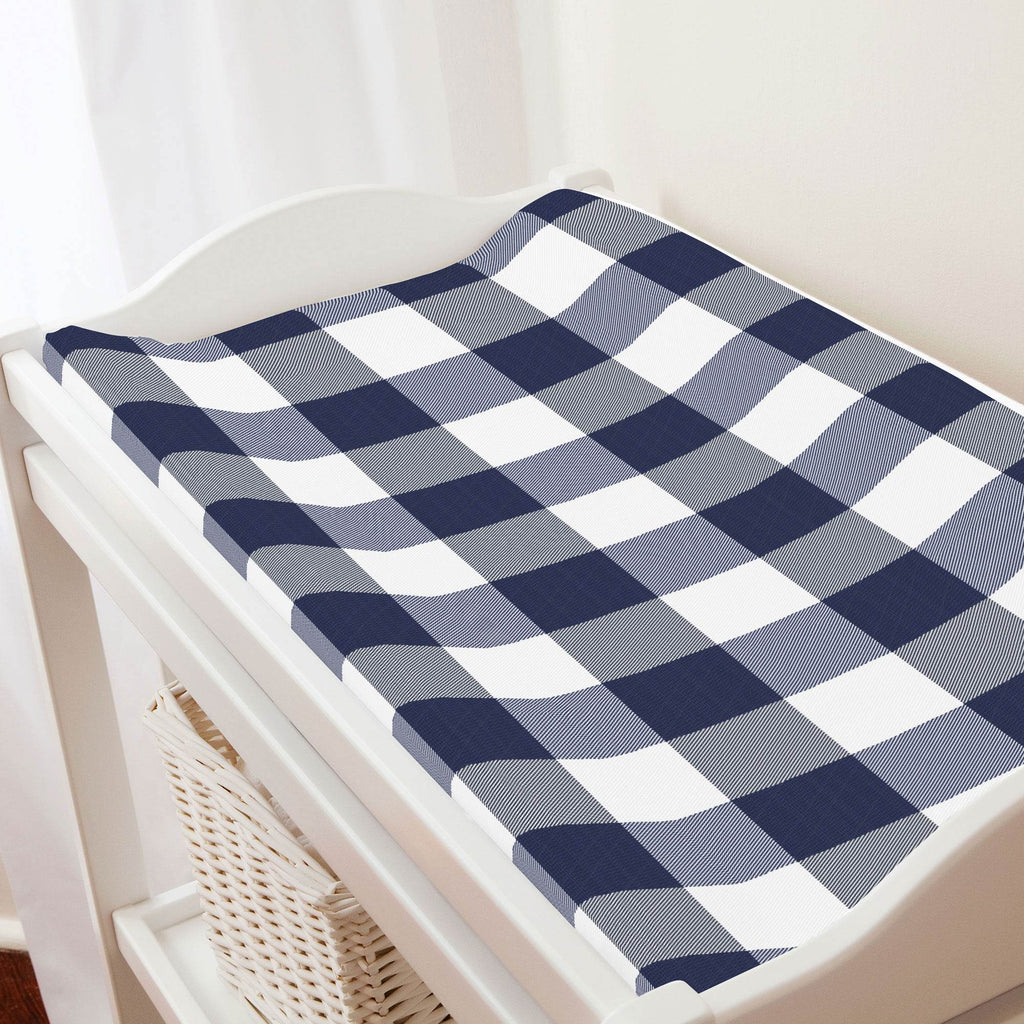 Product image for Navy and White Buffalo Check Changing Pad Cover