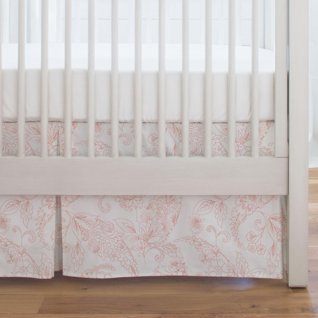 Product image for Light Coral Sketchbook Floral Crib Skirt Single-Pleat