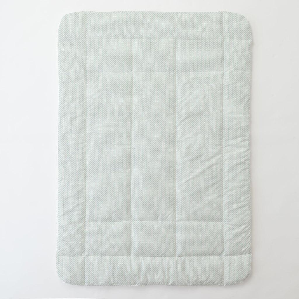 Product image for White and Mint Classic Herringbone Toddler Comforter