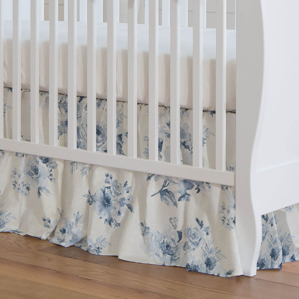 Product image for Blue Farmhouse Floral Crib Skirt Gathered