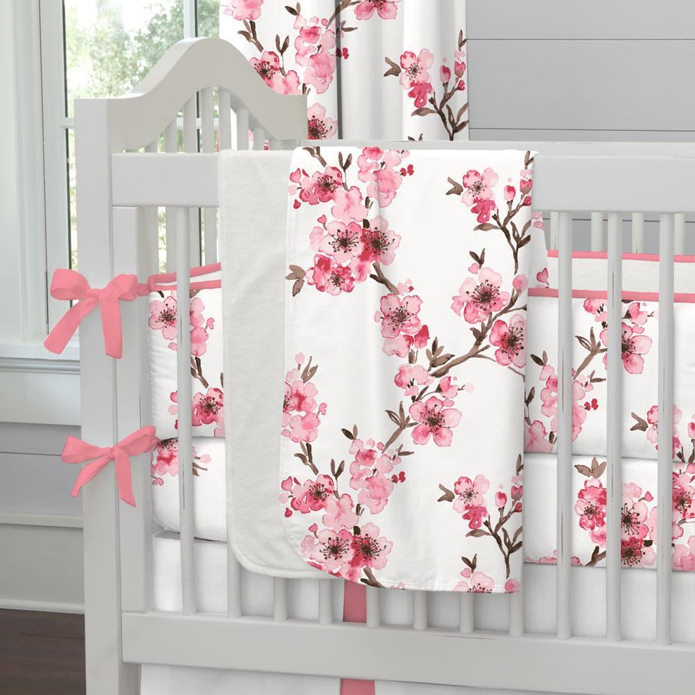 Product image for Pink Cherry Blossom Baby Blanket