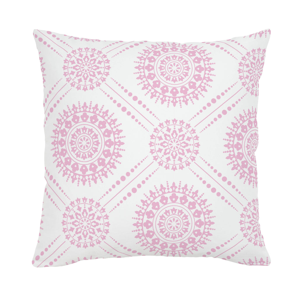 Product image for Bubblegum Pink Modern Medallion Throw Pillow