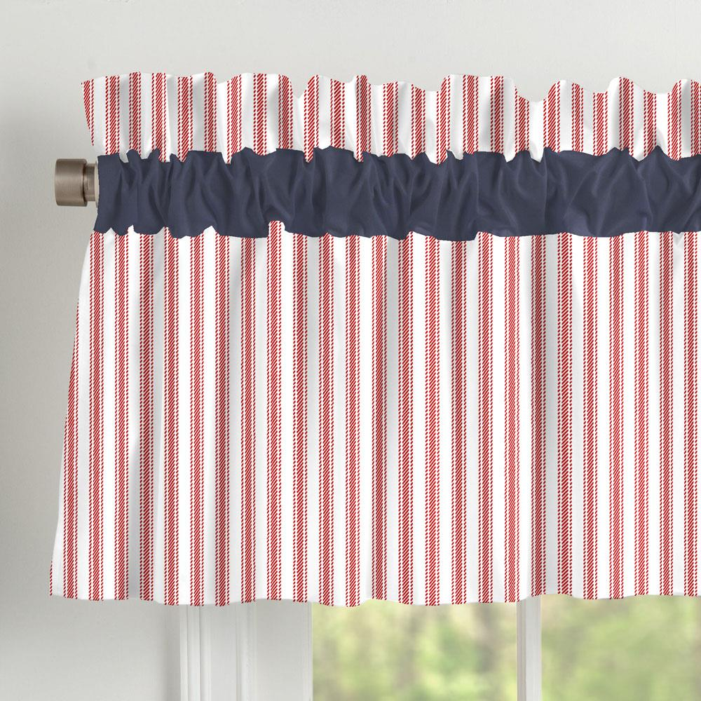 Product image for Red Ticking Stripe Window Valance