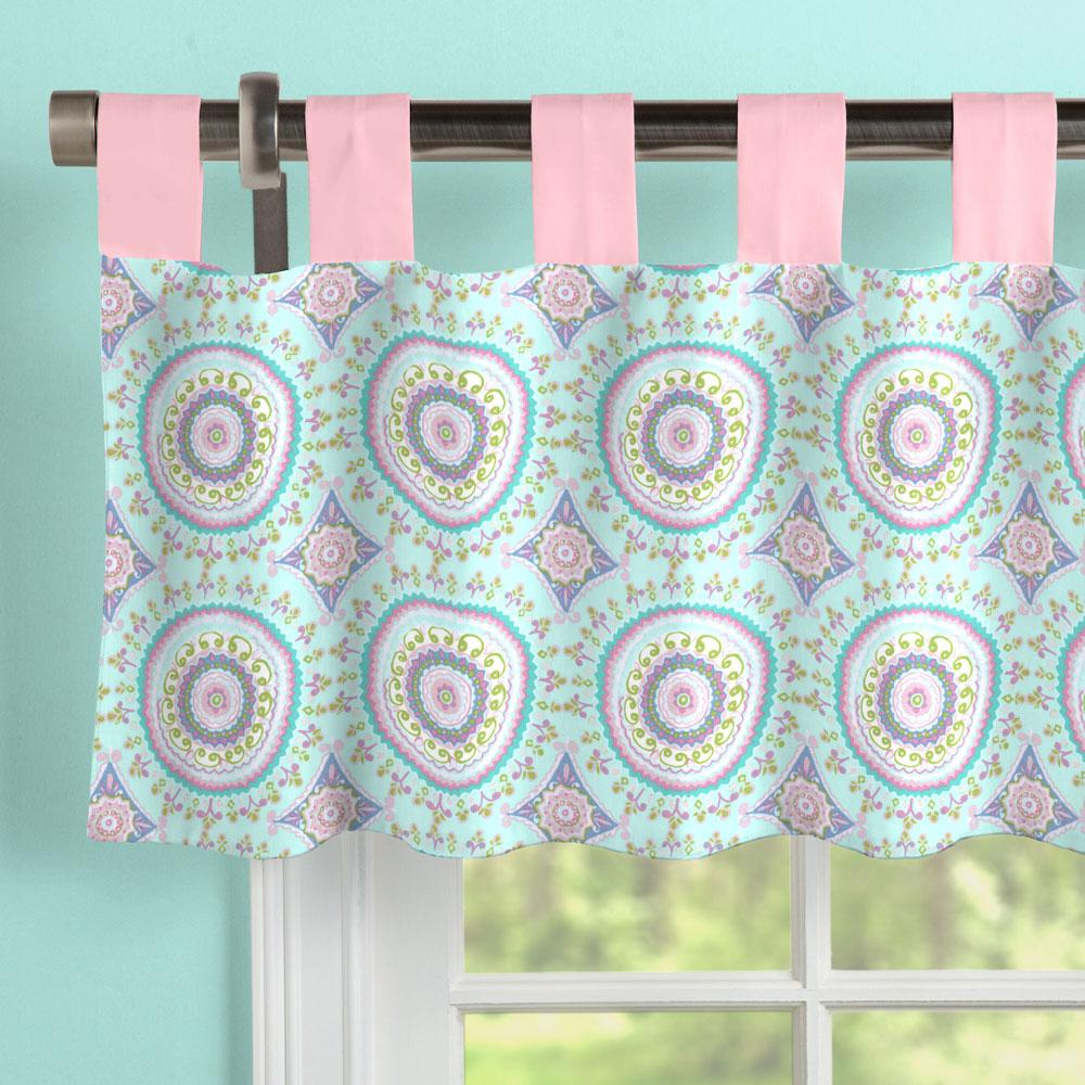Product image for Aqua Haute Circles Window Valance Tab-Top