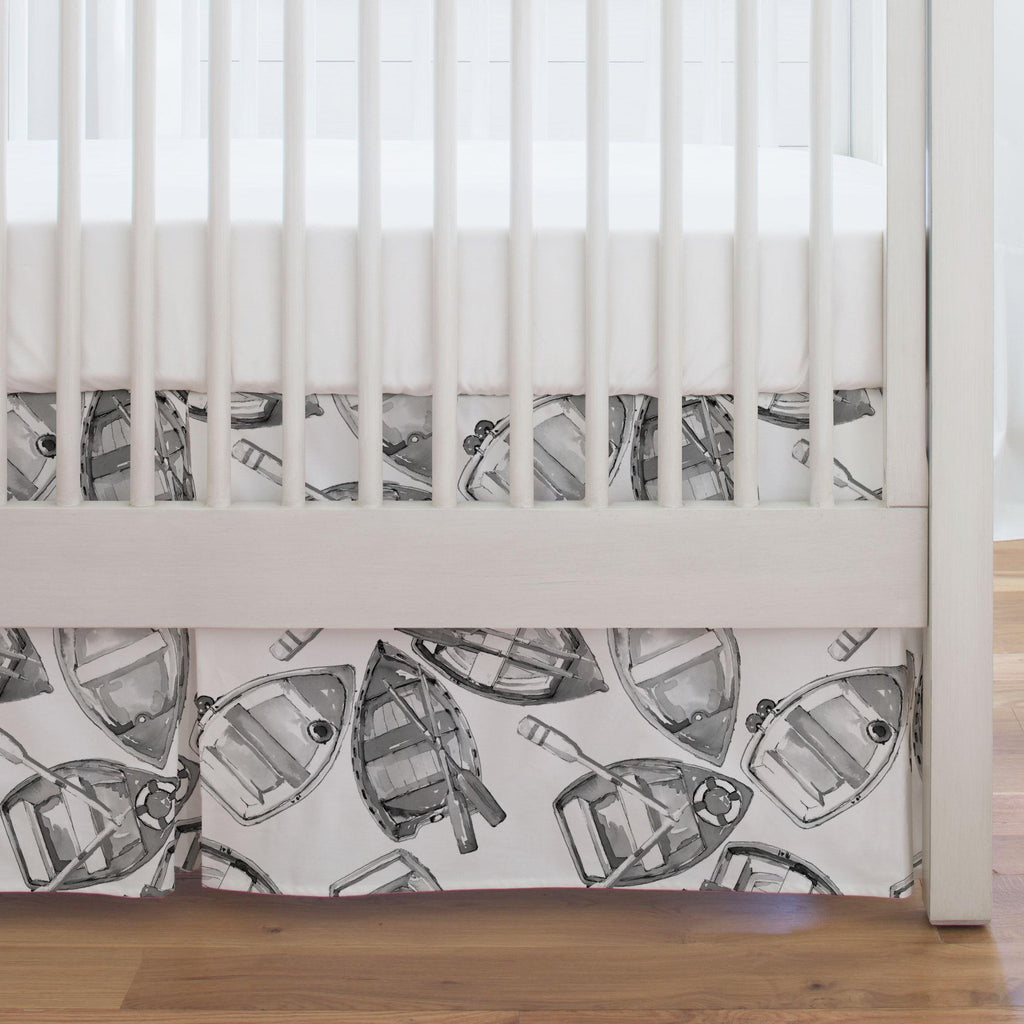 Product image for Gray Watercolor Boats Crib Skirt Single-Pleat