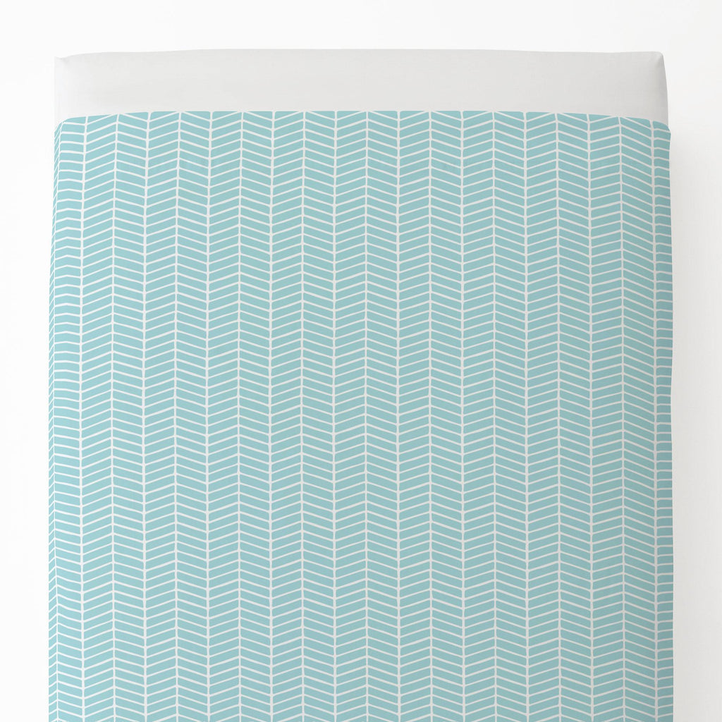 Product image for Seafoam Aqua Herringbone Toddler Sheet Top Flat