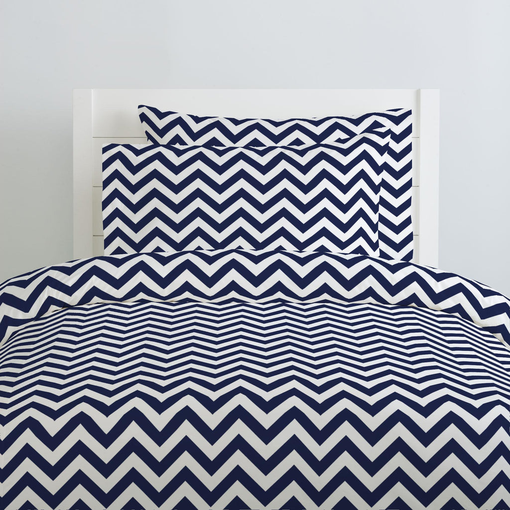 Product image for White and Navy Zig Zag Duvet Cover