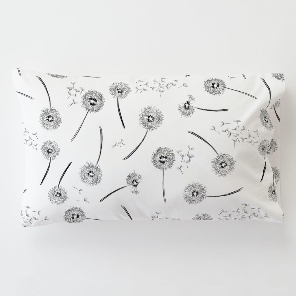 Product image for Hand Drawn Dandelion Toddler Pillow Case with Pillow Insert