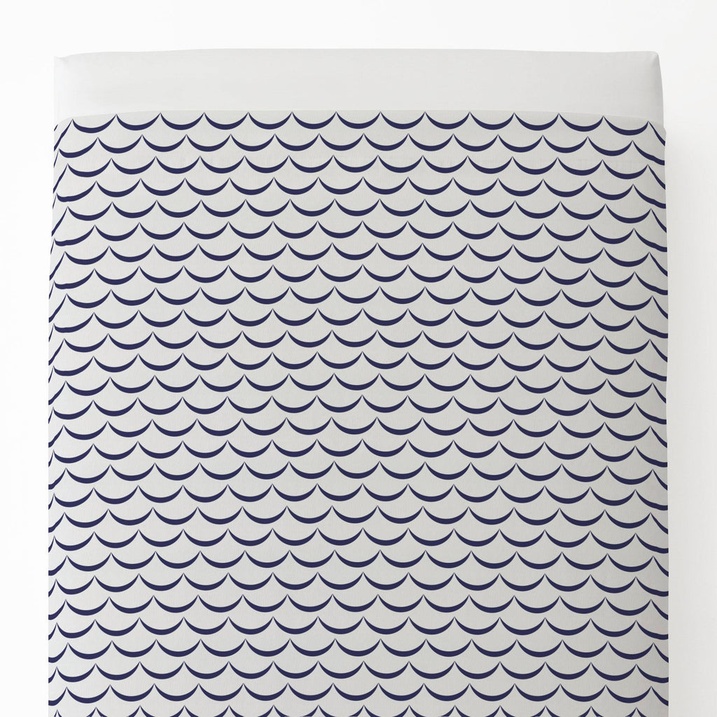 Product image for White and Navy Waves Toddler Sheet Top Flat