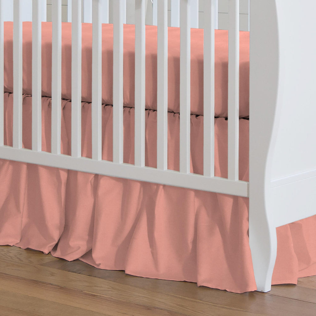 Product image for Solid Light Coral Crib Skirt Gathered