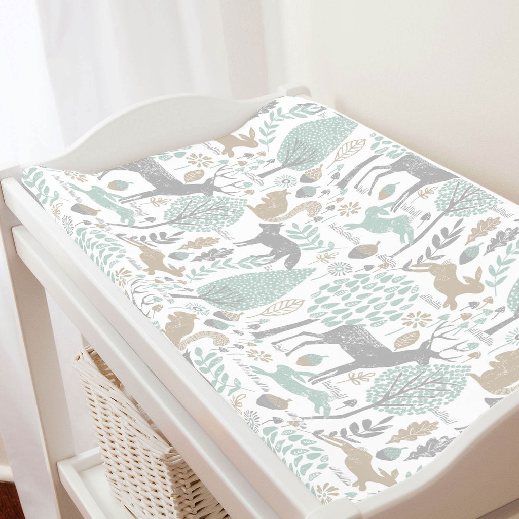 Product image for Gray and Taupe Woodland Animals Changing Pad Cover