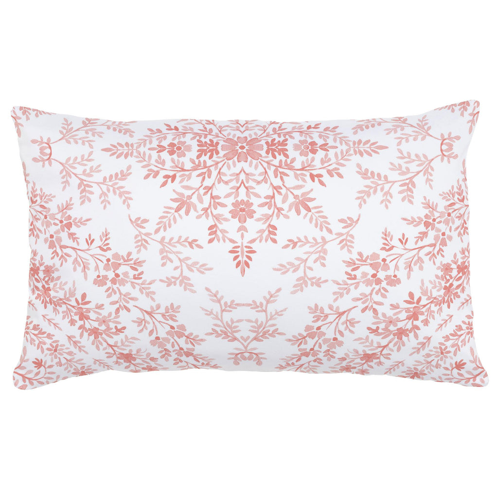 Product image for Light Coral Floral Damask Lumbar Pillow