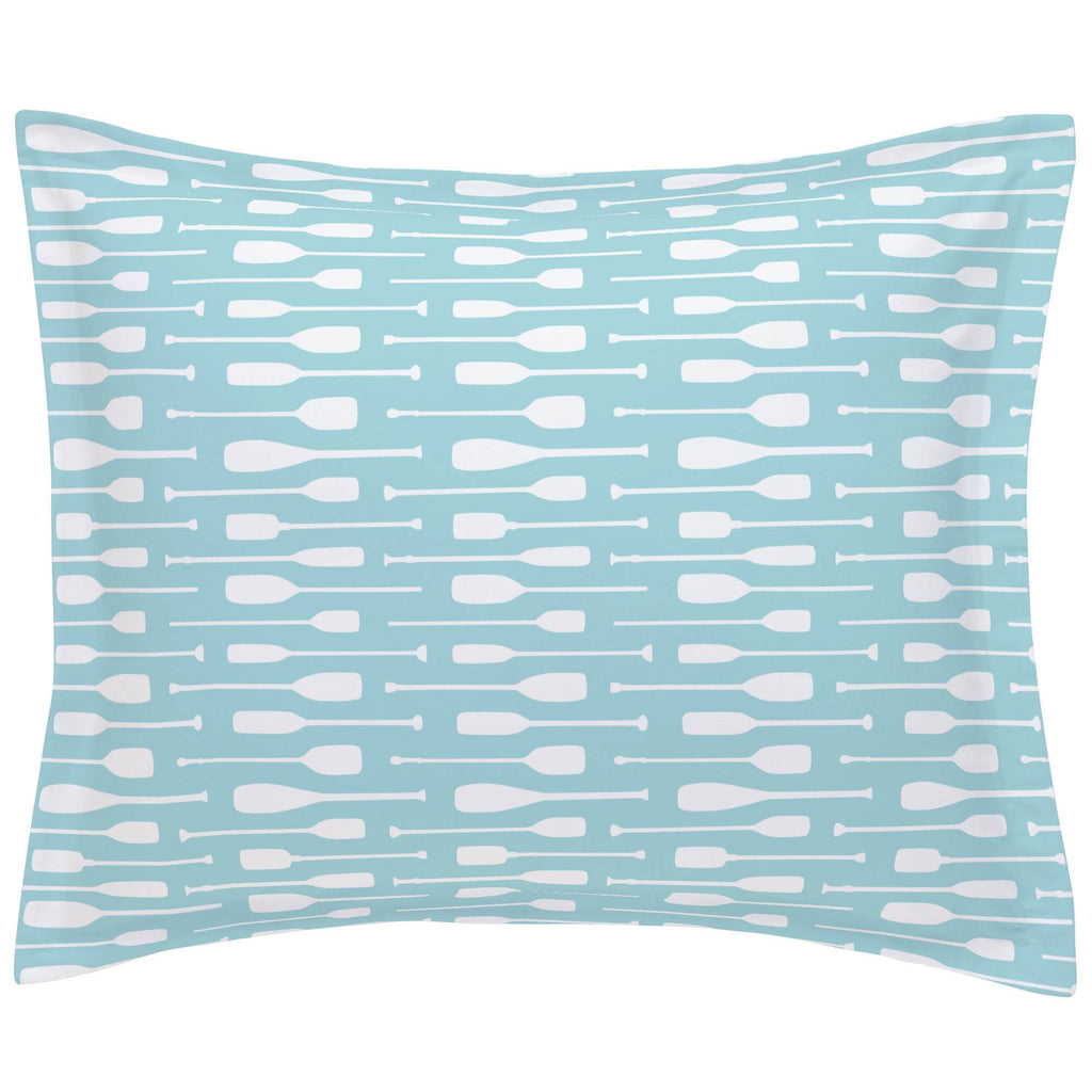 Product image for Seafoam Aqua and White Oars Pillow Sham