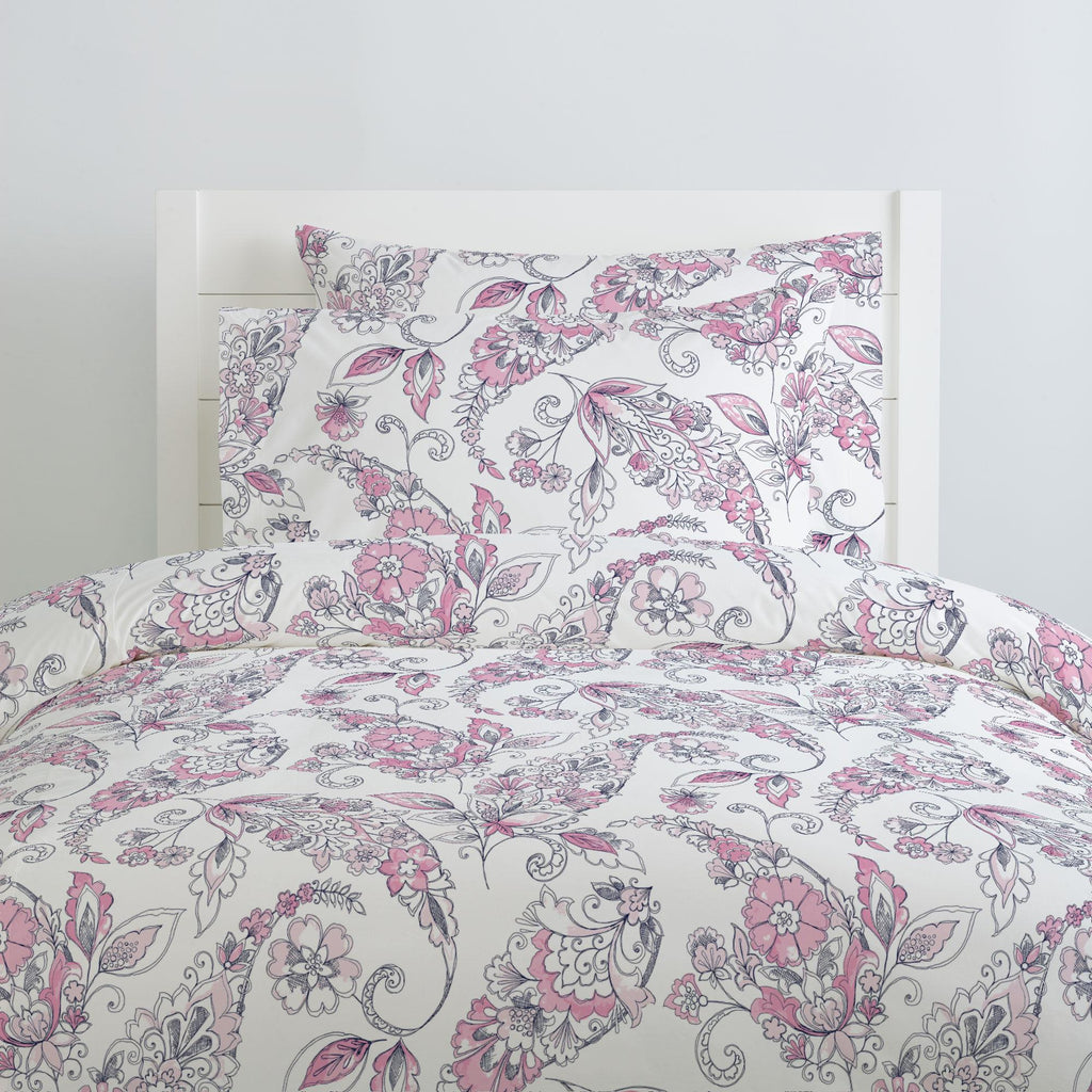 Product image for Pink and Navy Sketchbook Floral Duvet Cover