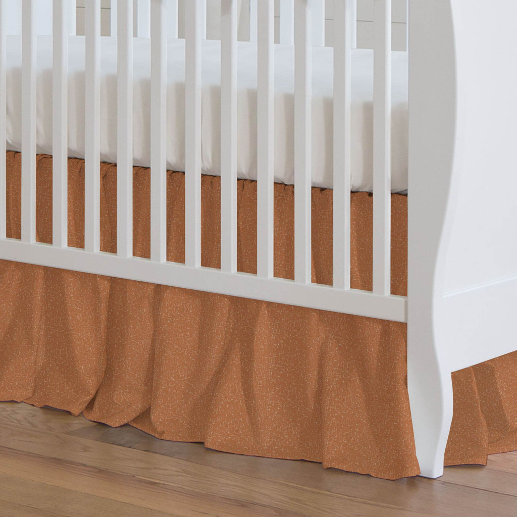 Product image for Fox Orange Heather Crib Skirt Gathered