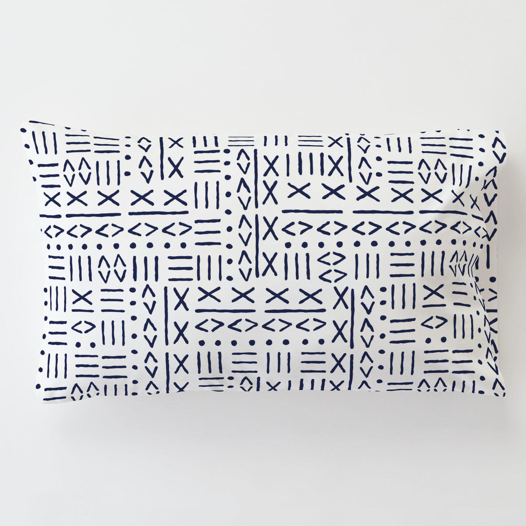 Product image for Navy Mudcloth Toddler Pillow Case with Pillow Insert