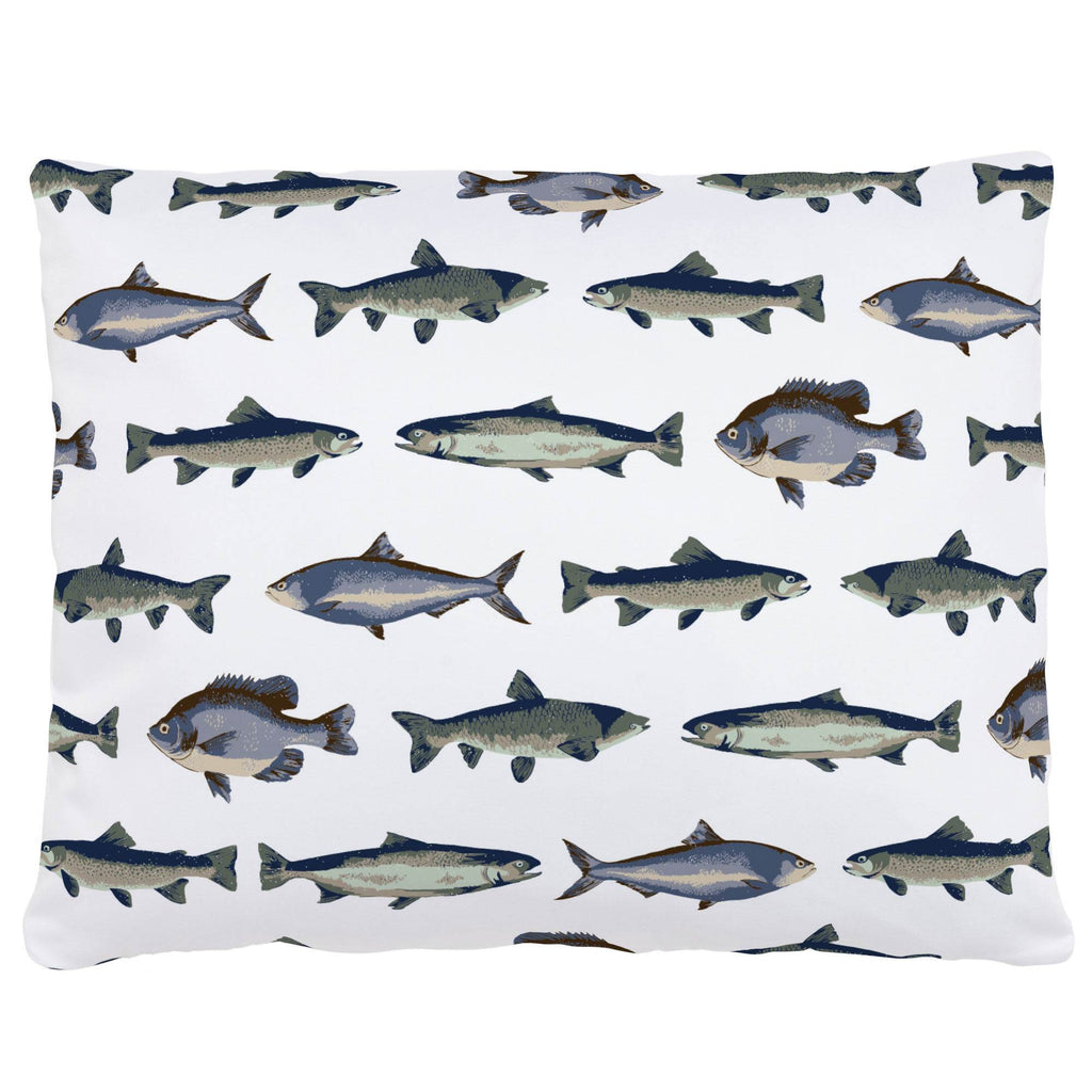 Product image for Navy and Seafoam Fish Accent Pillow