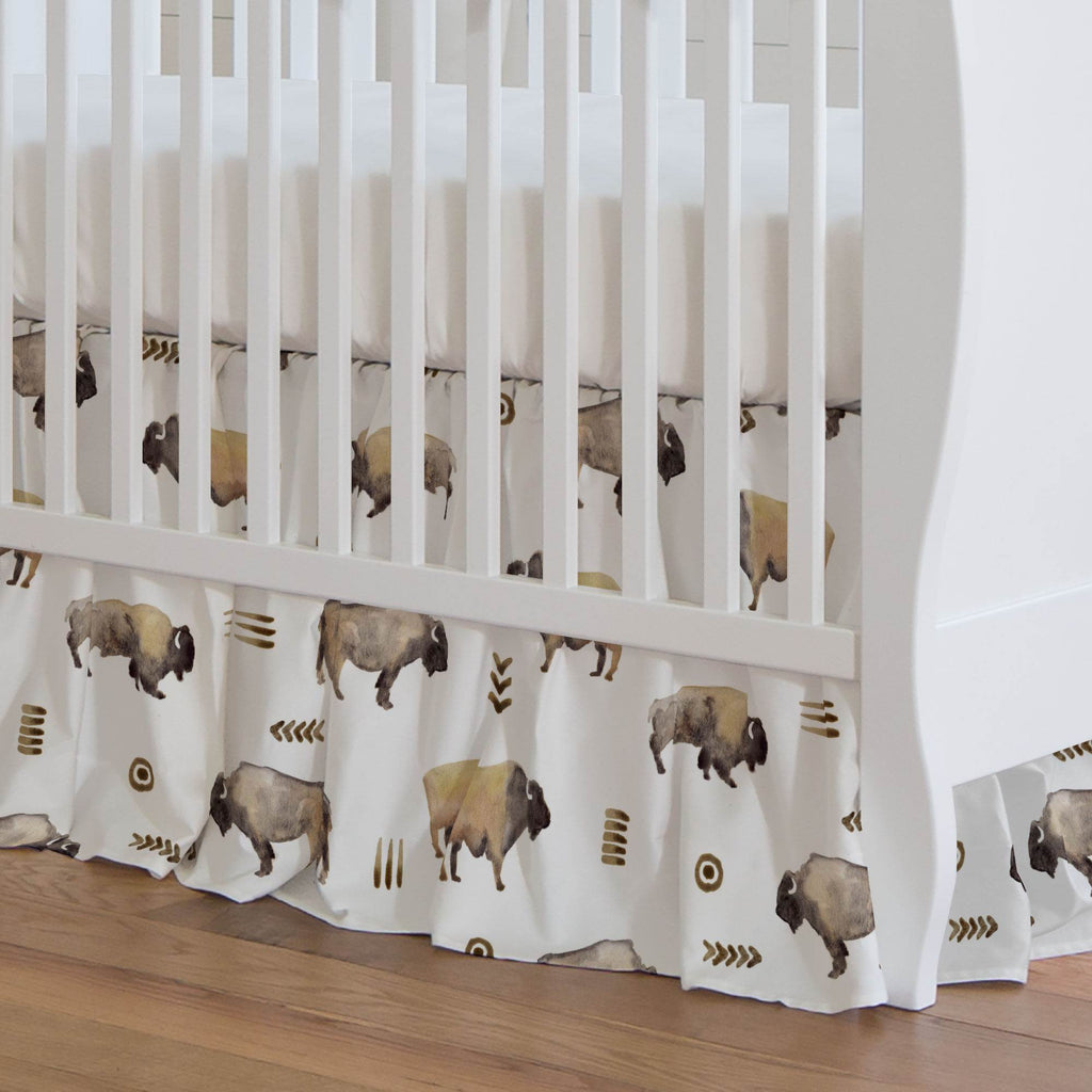 Product image for Watercolor Buffalo Crib Skirt Gathered
