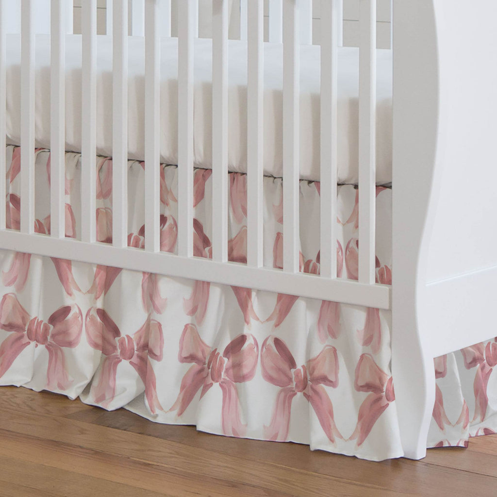 Product image for Pink Watercolor Bows Crib Skirt Gathered