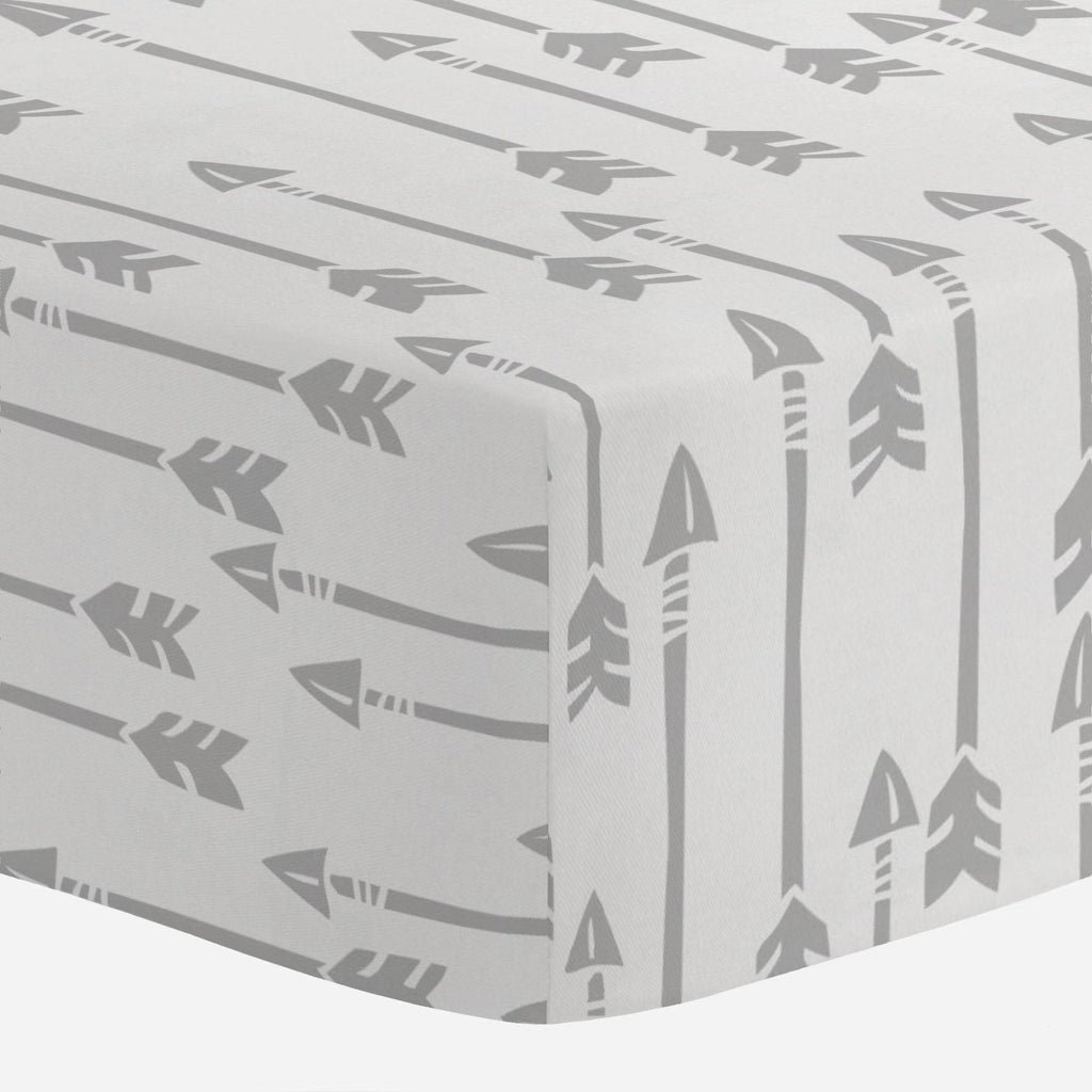 Product image for Silver Gray Flying Arrow Crib Sheet