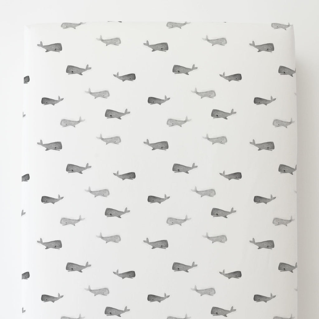 Product image for Gray Whale of a Tale Toddler Sheet Bottom Fitted