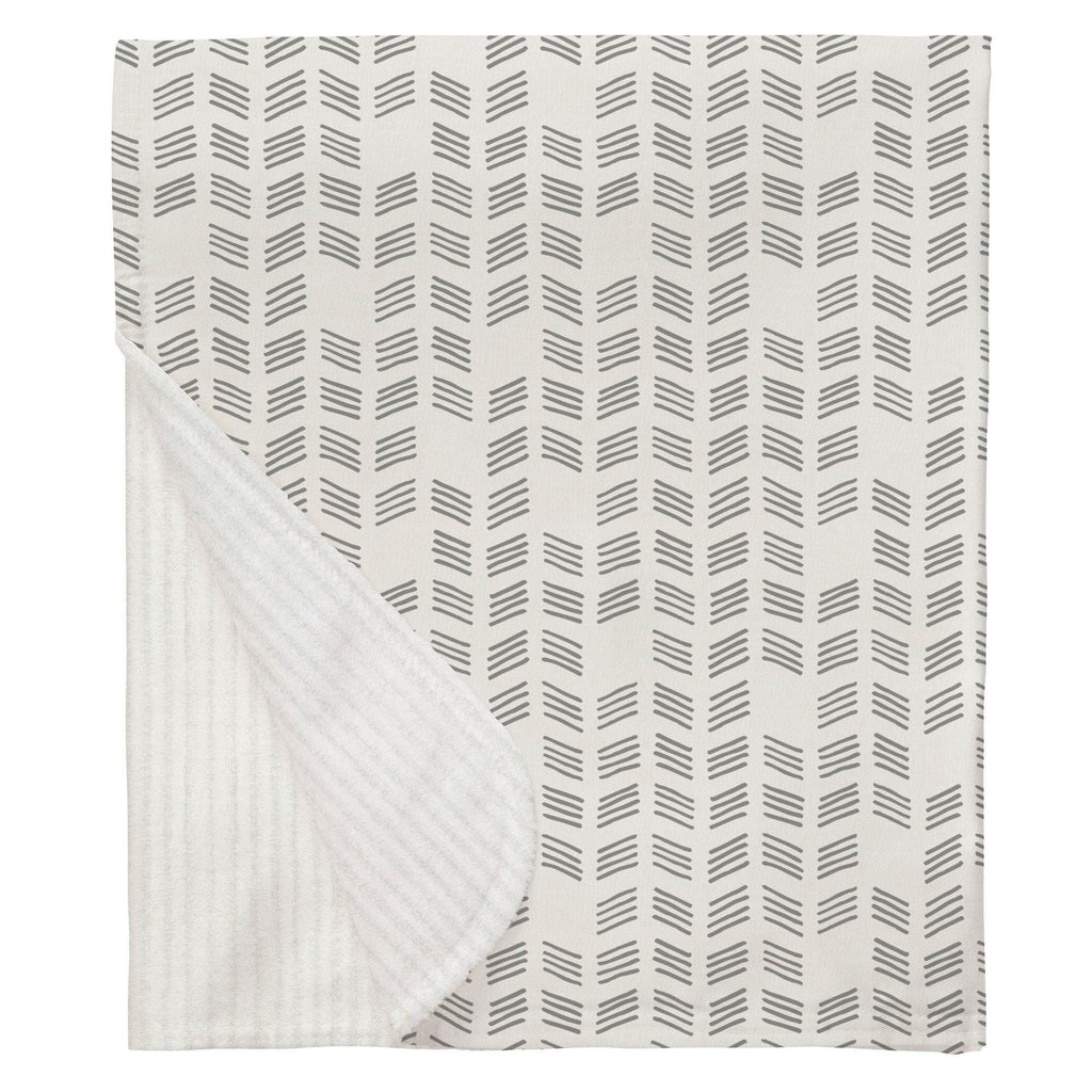 Product image for Silver Gray Tribal Herringbone Baby Blanket