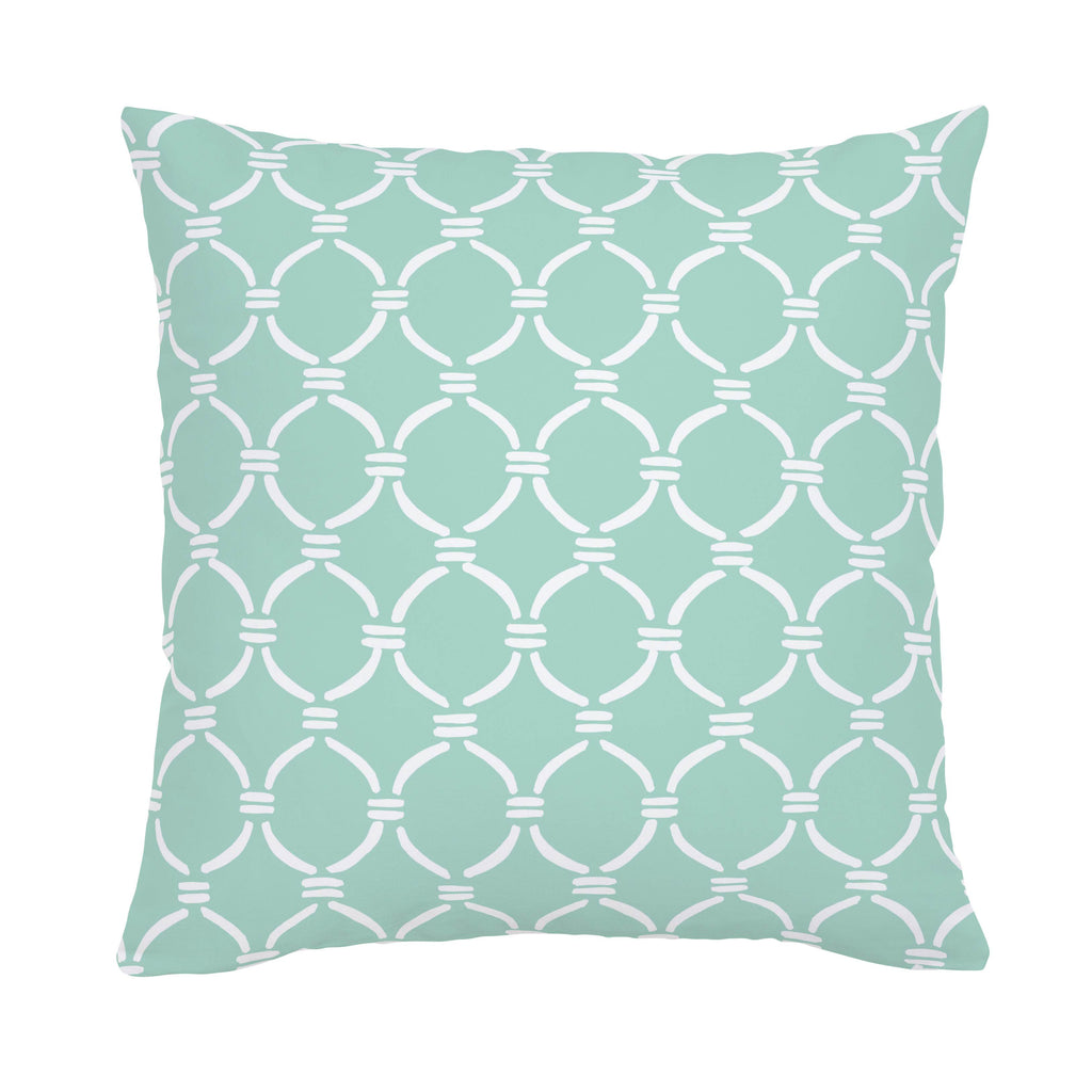 Product image for Mint and White Lattice Circles Throw Pillow