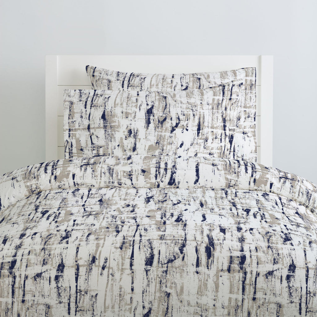 Product image for Navy and Taupe Birch Duvet Cover
