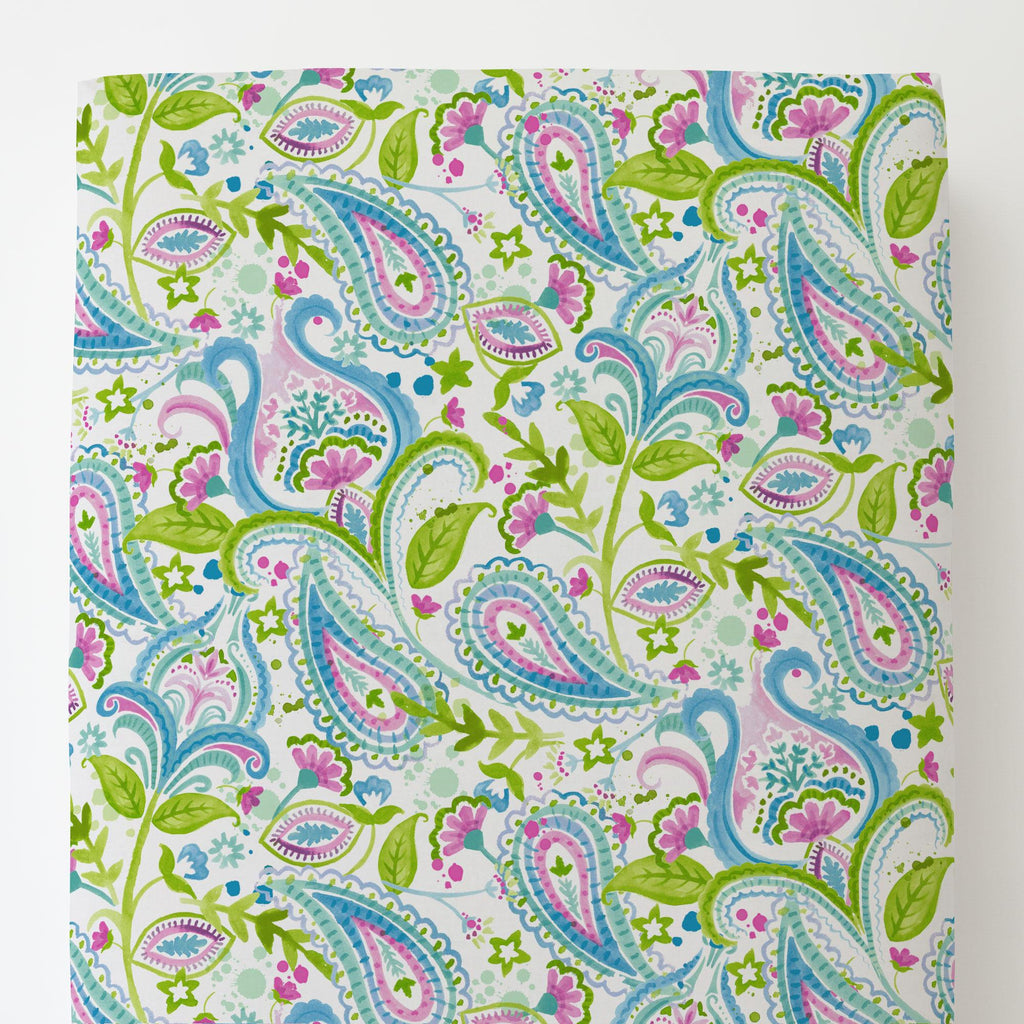 Product image for Orchid Painted Paisley Toddler Sheet Bottom Fitted
