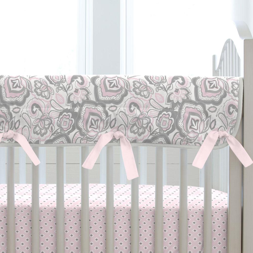 Product image for Pink and Gray Jacobean Crib Rail Cover