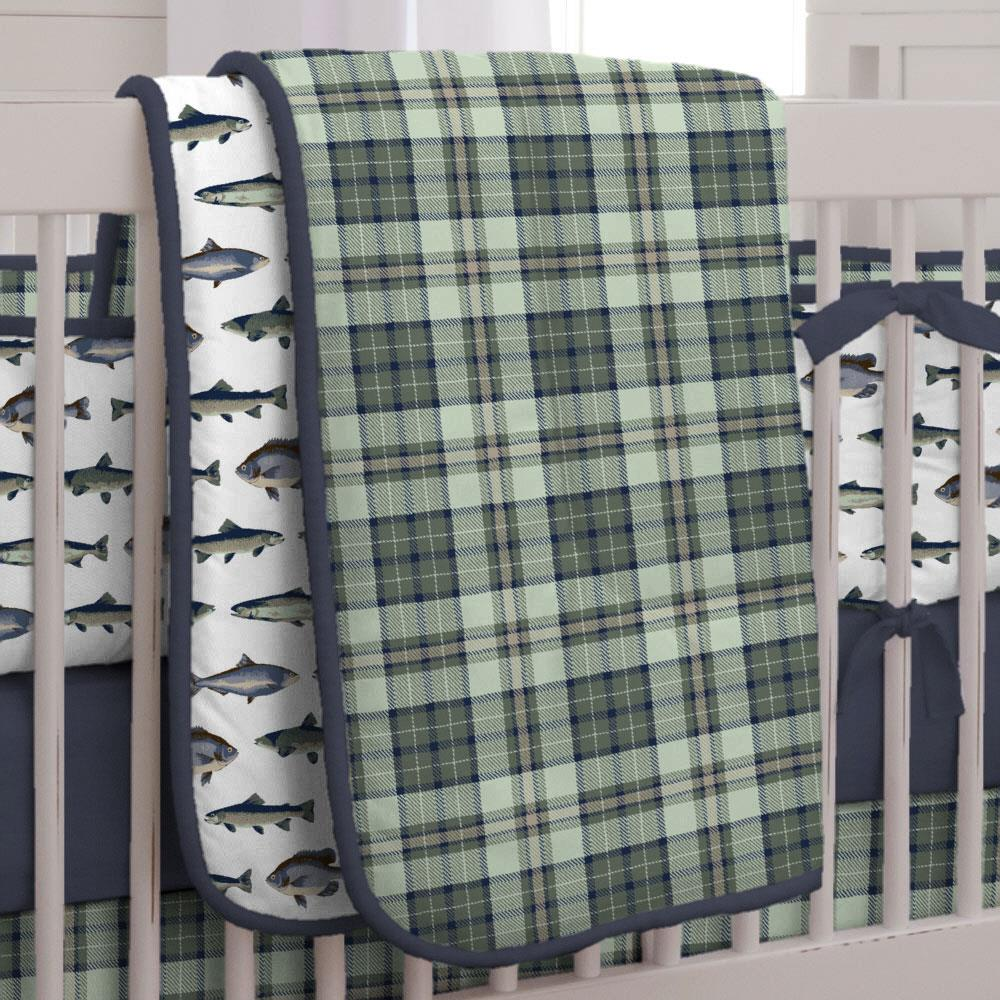 Product image for Navy and Seafoam Plaid Crib Comforter with Piping