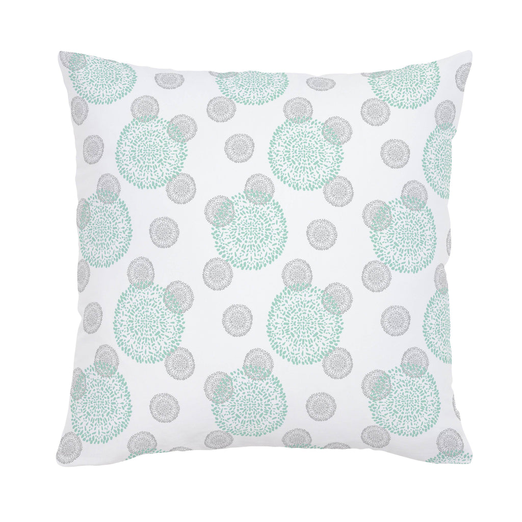 Product image for Mint and Silver Gray Dandelion Throw Pillow