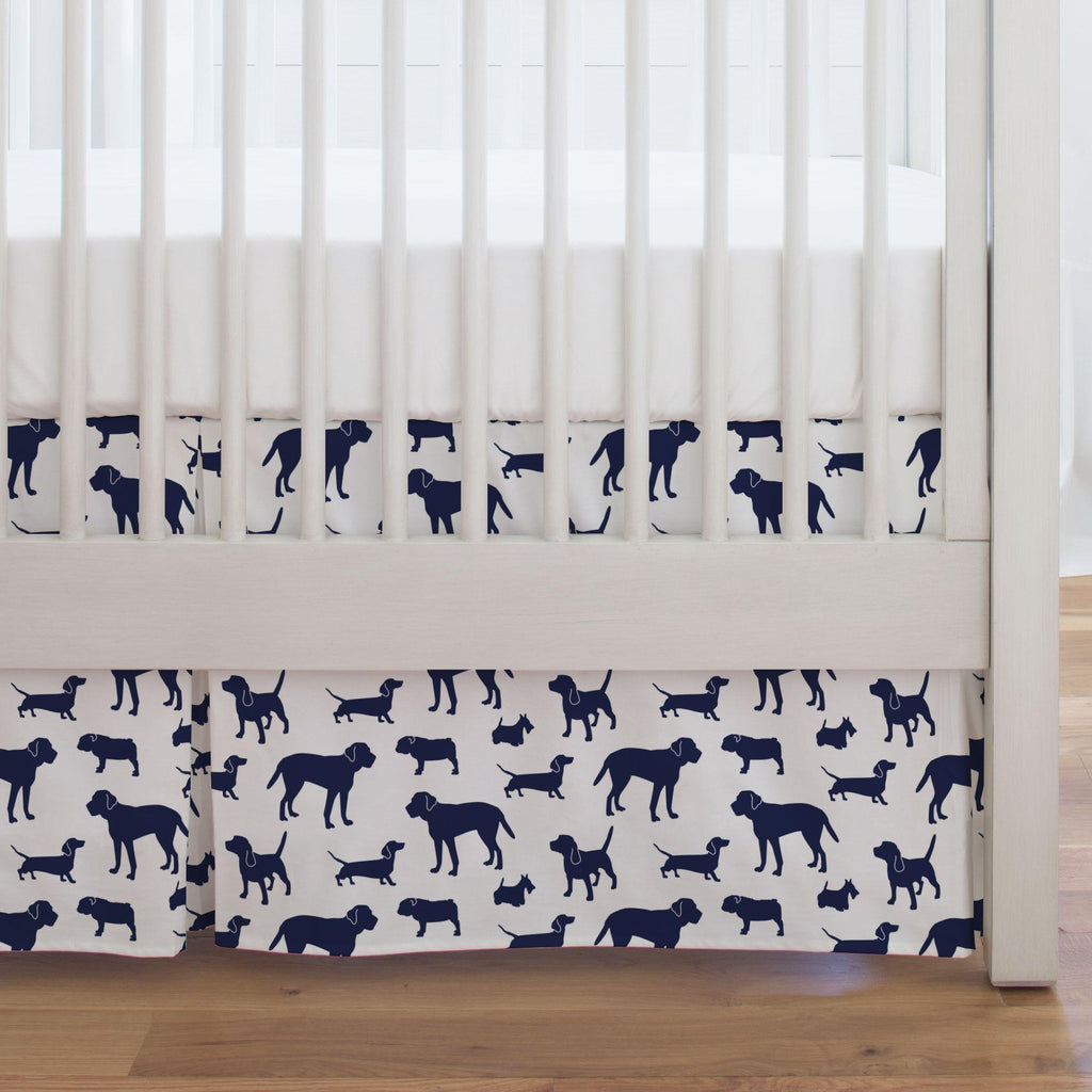 Product image for Navy Dogs Crib Skirt Single-Pleat