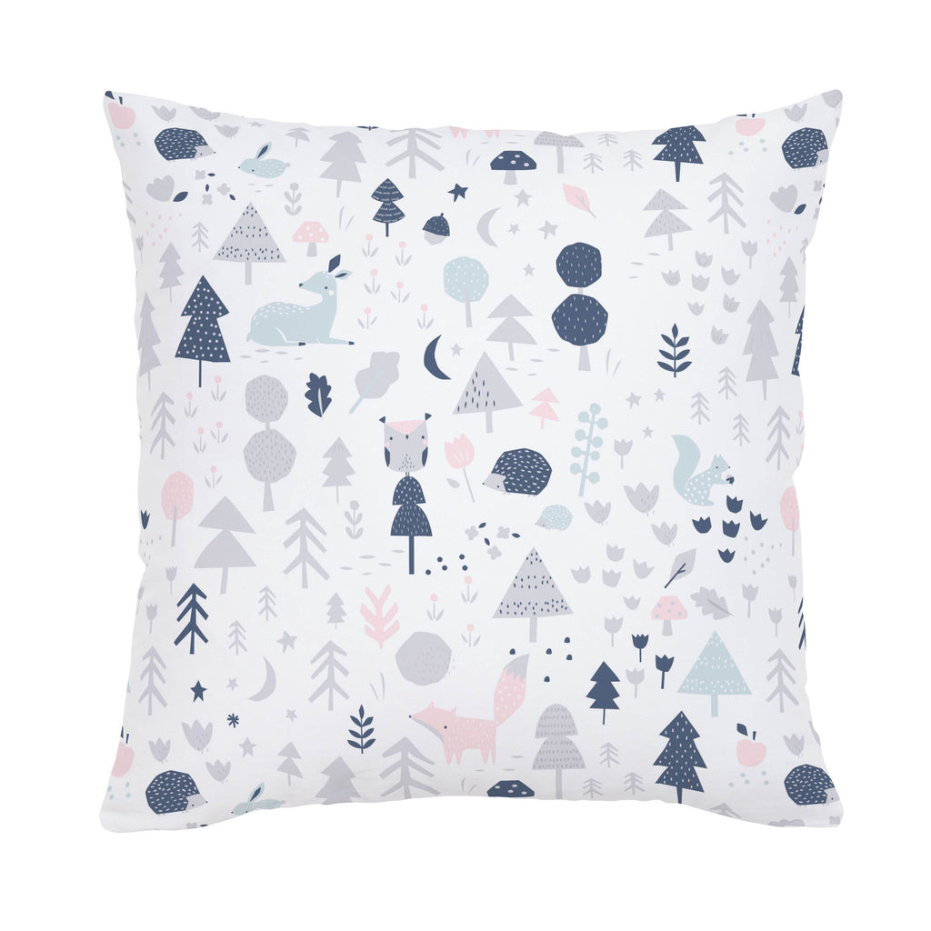 Product image for Gray and Pink Baby Woodland Throw Pillow