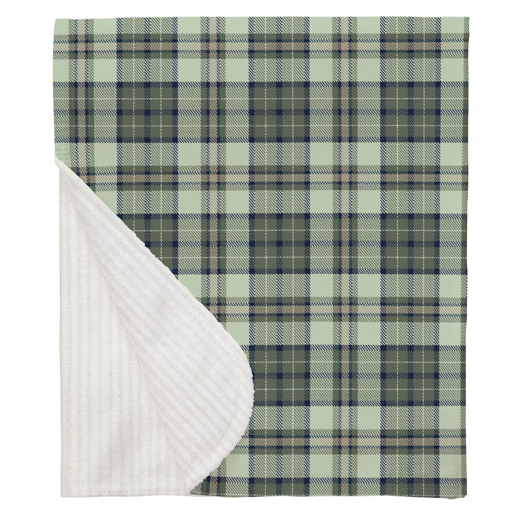 Product image for Navy and Seafoam Plaid Baby Blanket