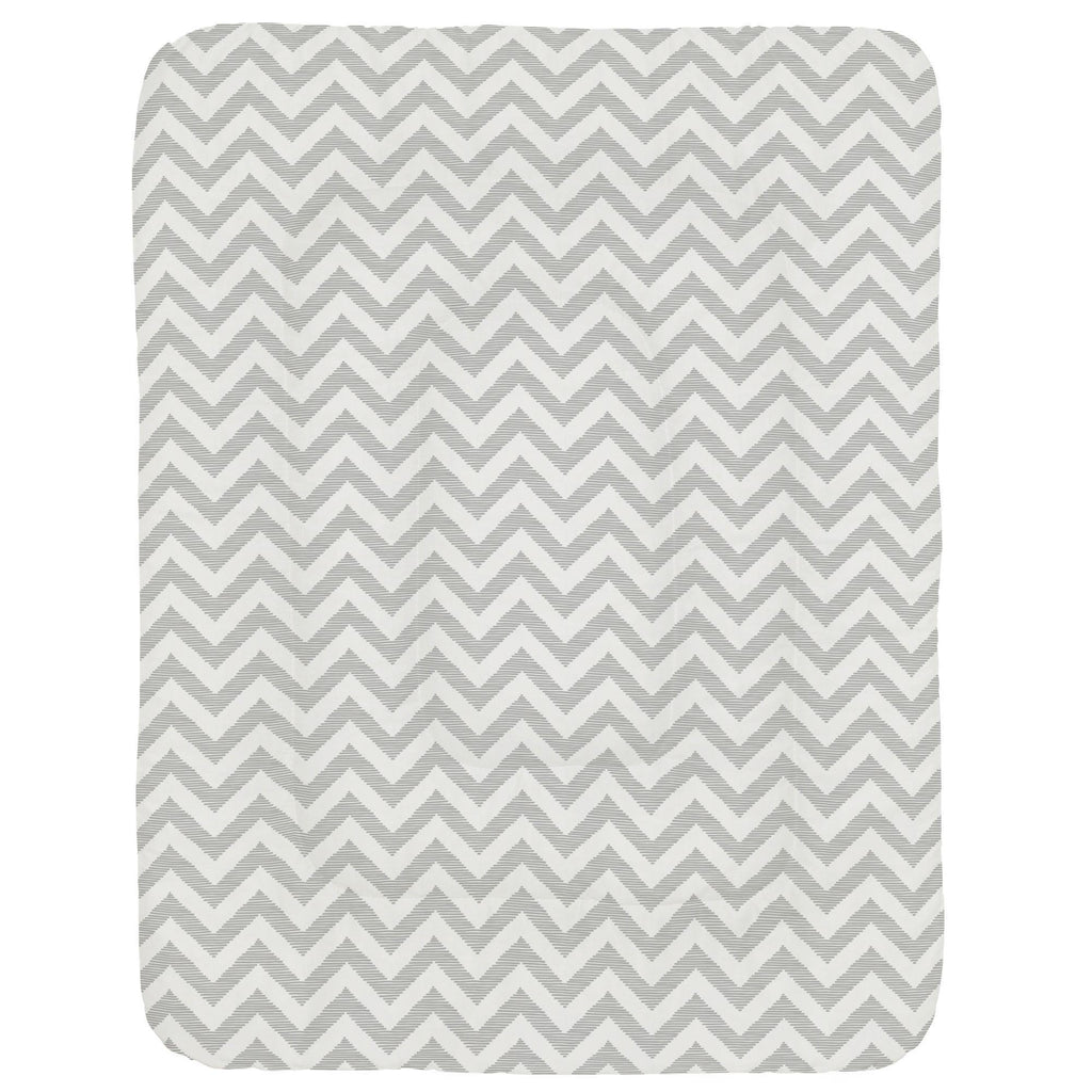 Product image for White and Silver Gray Chevron Crib Comforter
