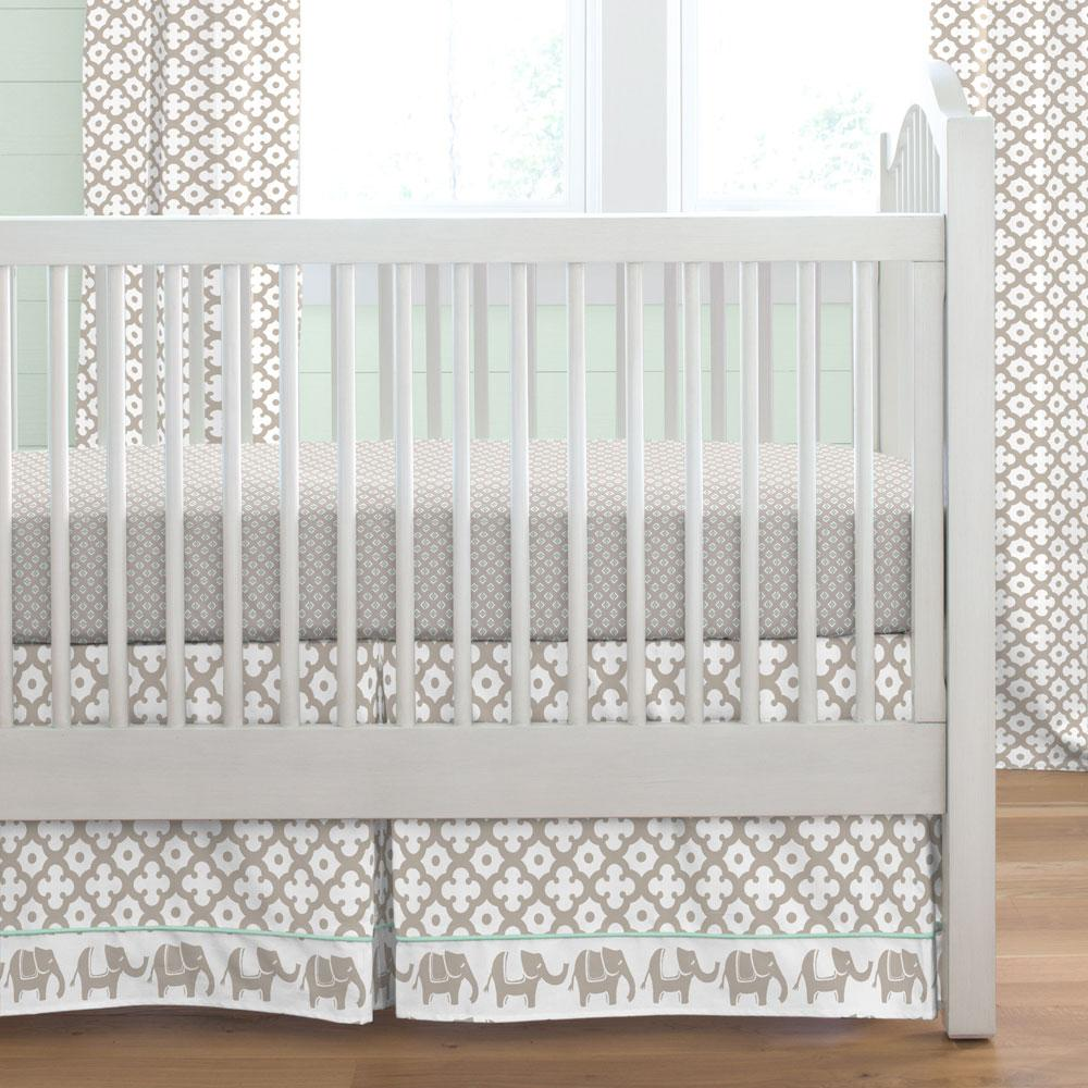 Product image for Taupe Moroccan Tile Crib Skirt with Trim