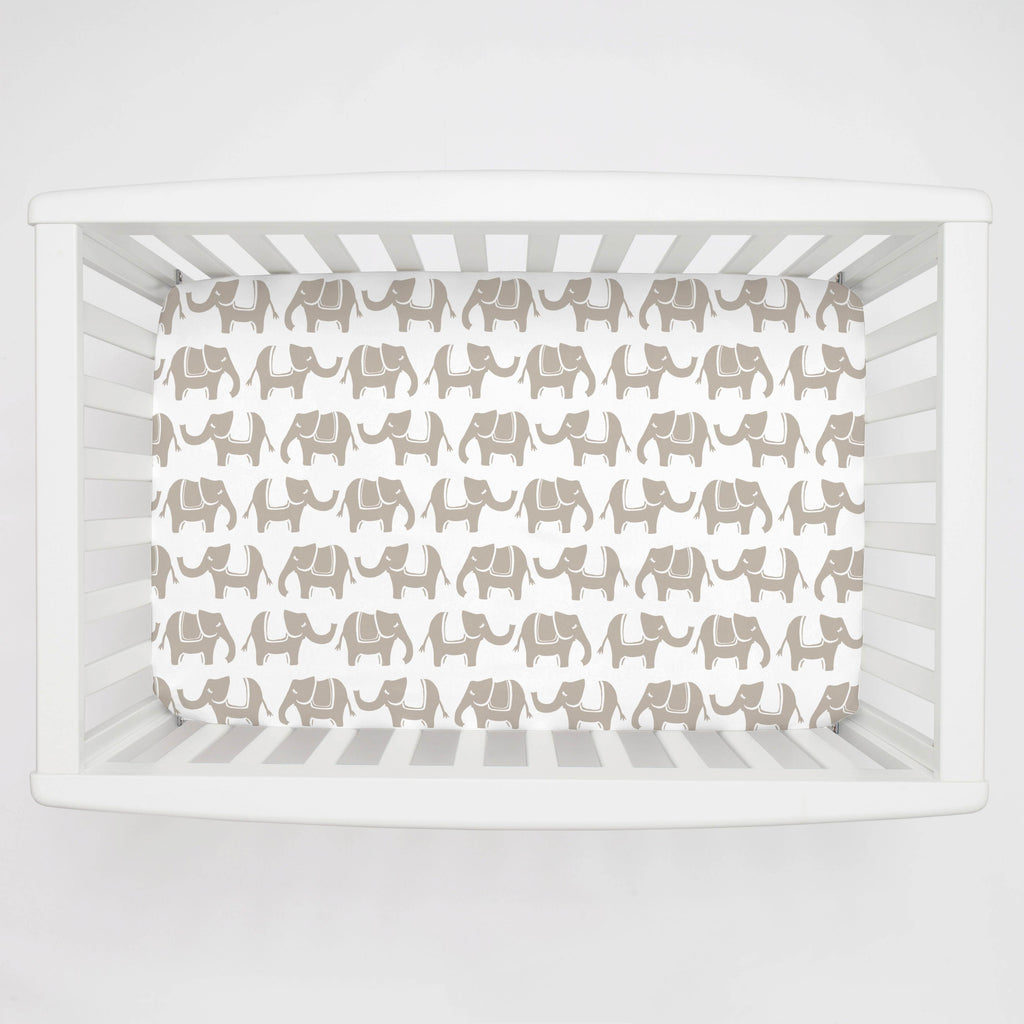 Product image for Taupe Marching Elephants Mini Crib Sheet