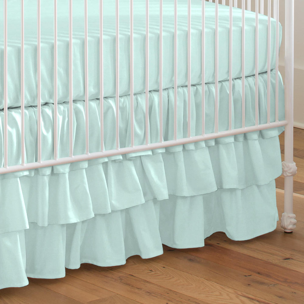 Product image for Solid Seafoam Aqua Crib Skirt 3-Tiered