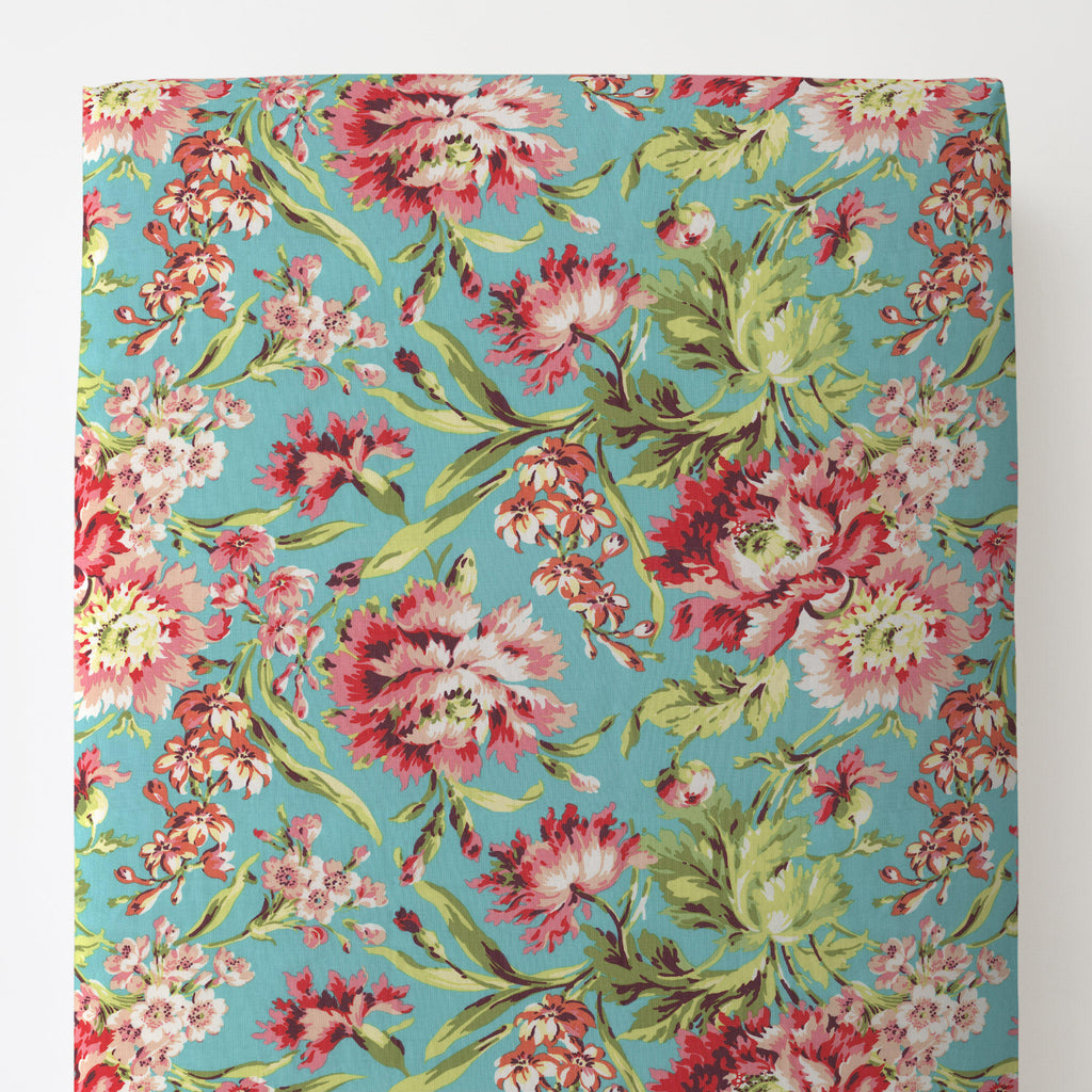 Product image for Coral and Teal Floral Toddler Sheet Bottom Fitted