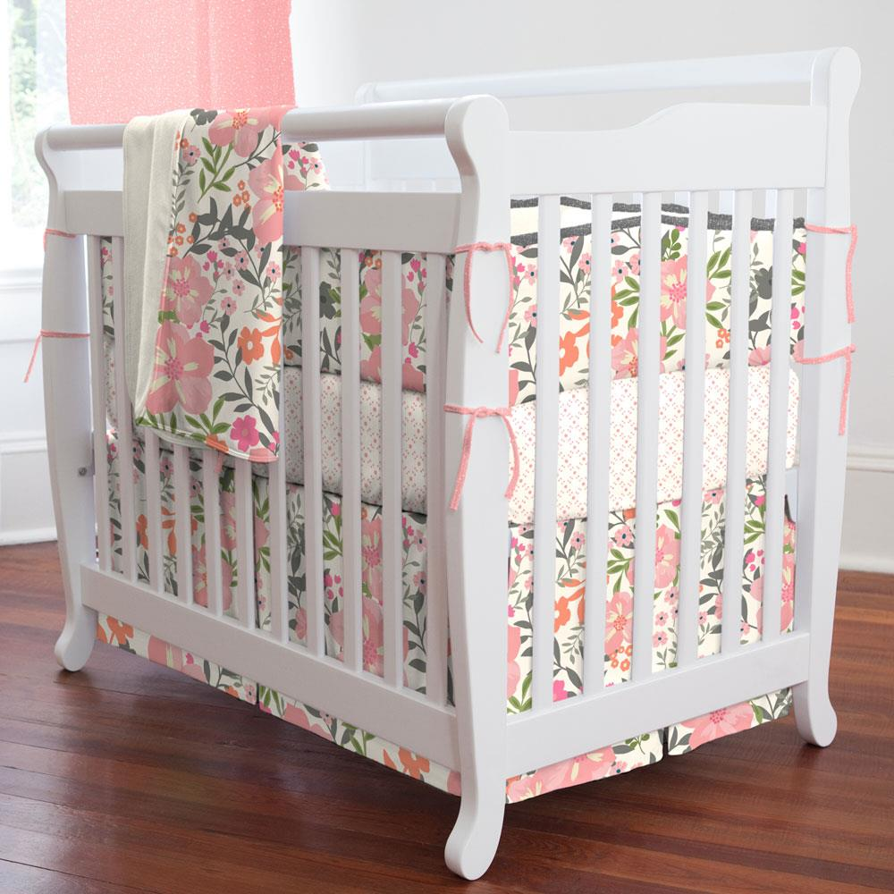 Product image for Pink and Orange Floral Tropic Mini Crib Bumper