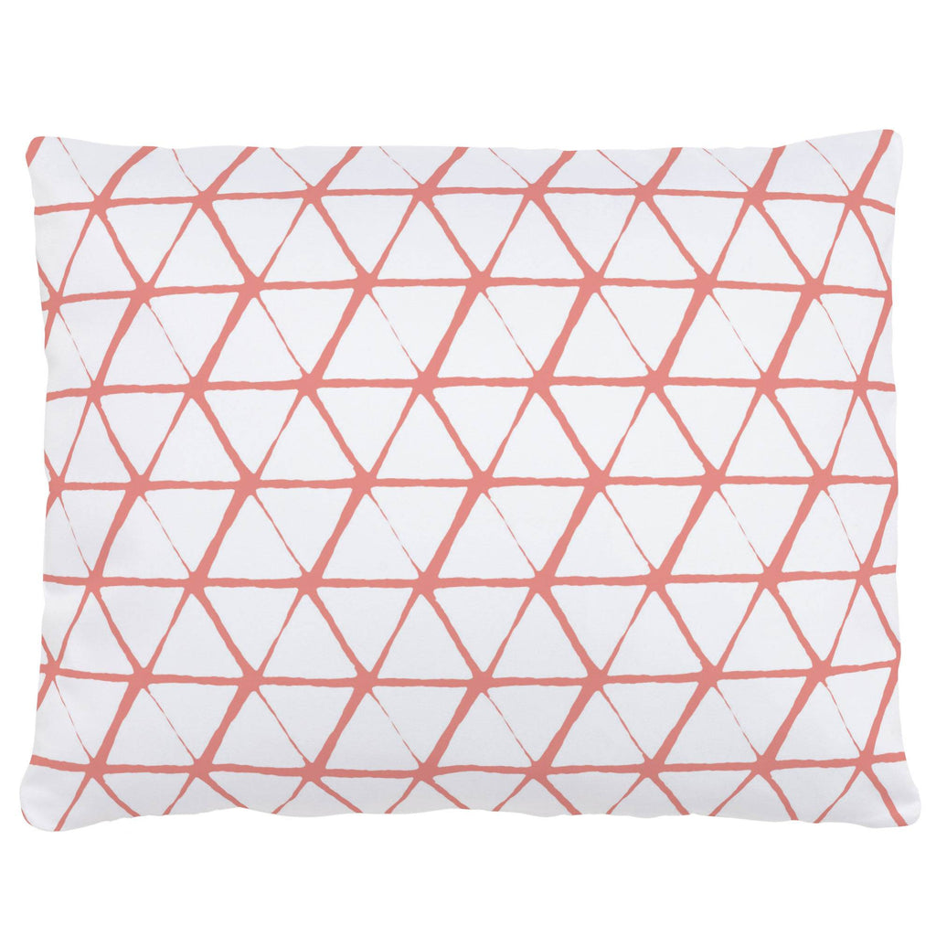 Product image for White and Light Coral Aztec Triangles Accent Pillow
