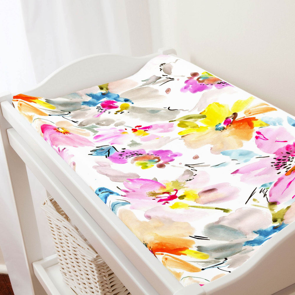 Product image for Watercolor Floral Changing Pad Cover