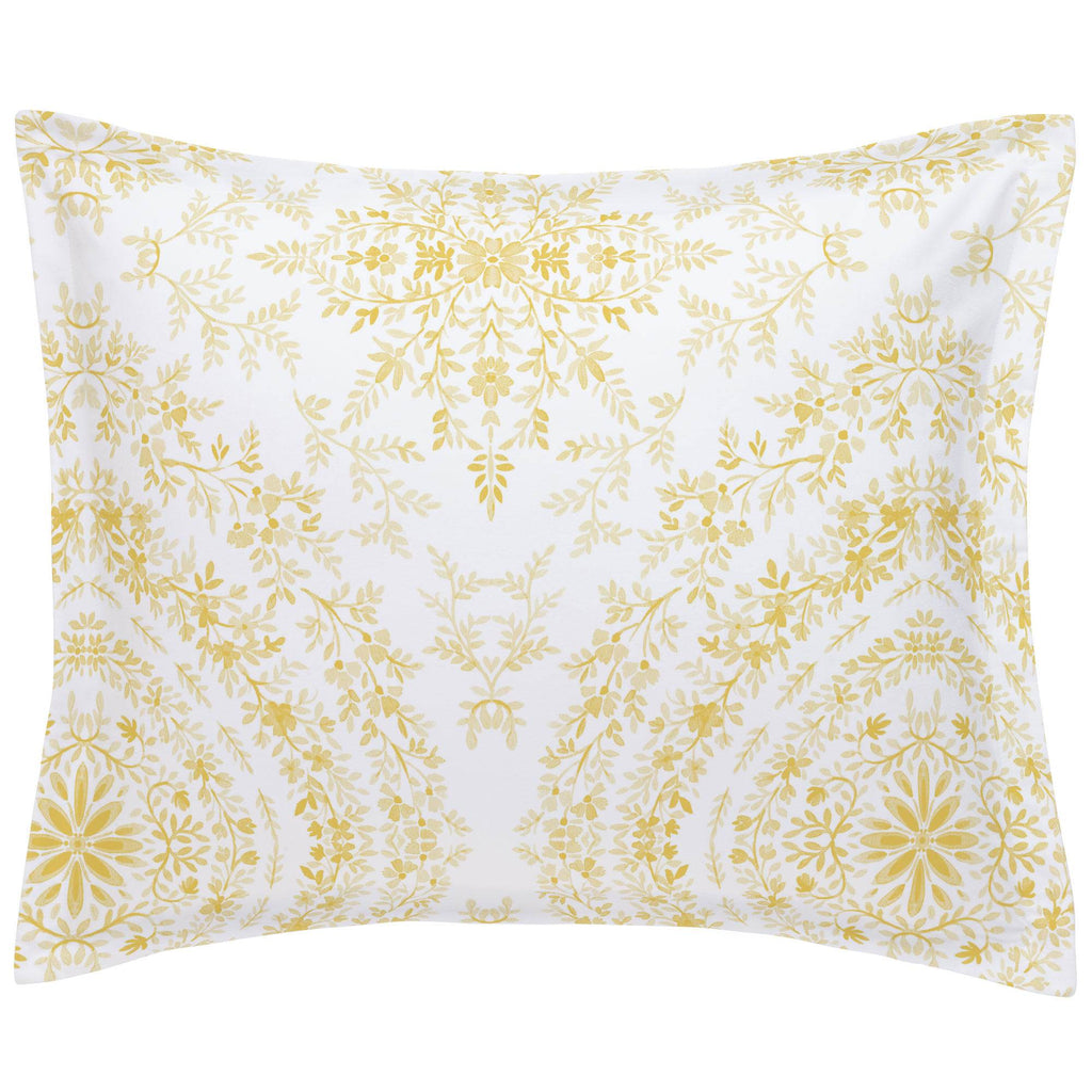 Product image for Yellow Floral Damask Pillow Sham