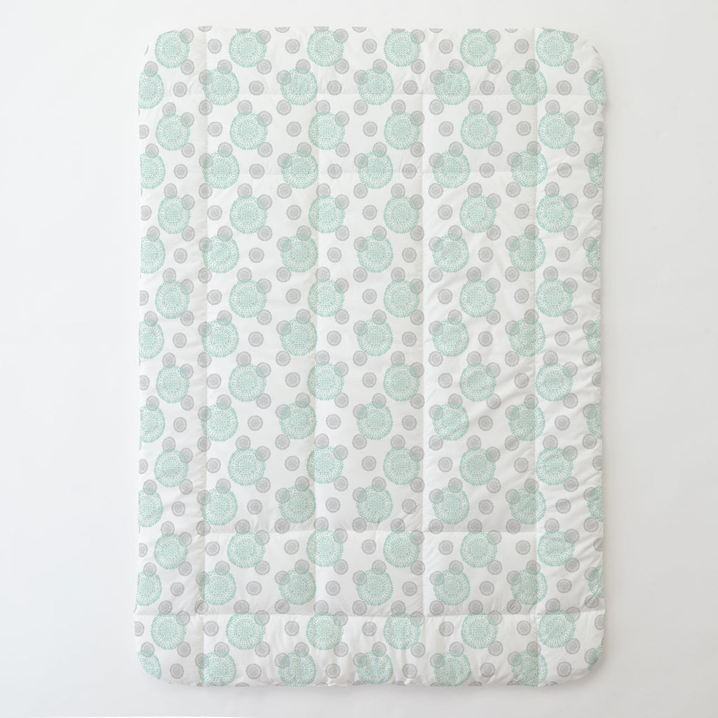 Product image for Mint and Silver Gray Dandelion Toddler Comforter