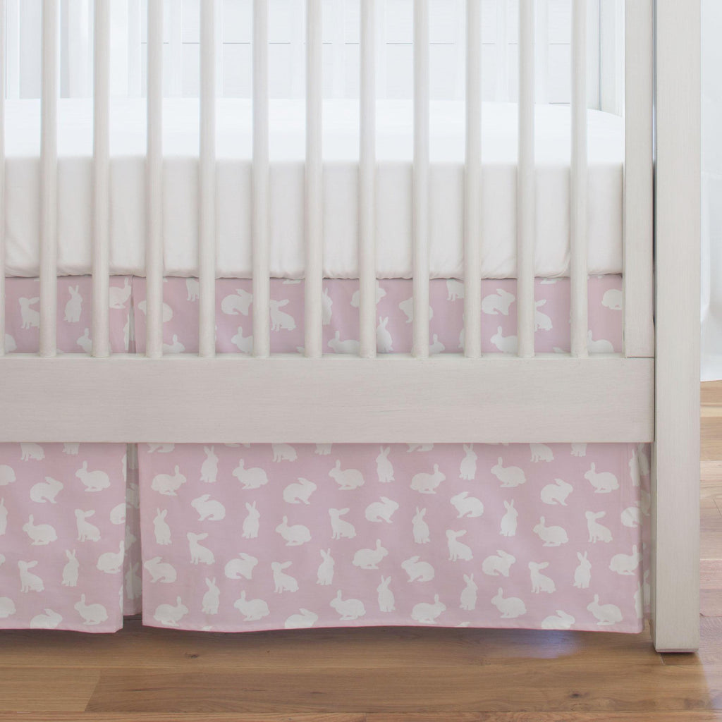 Product image for Pink and White Bunnies Crib Skirt Single-Pleat