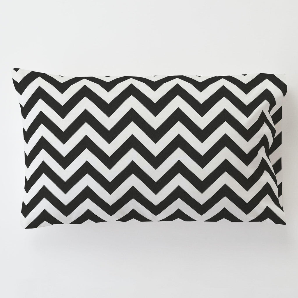 Product image for Black and White Zig Zag Toddler Pillow Case with Pillow Insert