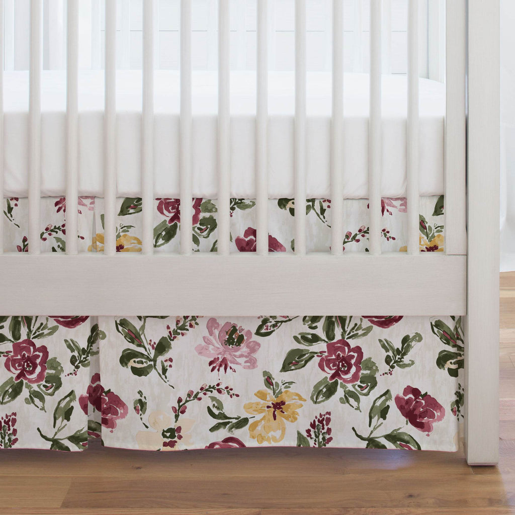 Product image for Merlot Garden Crib Skirt Single-Pleat